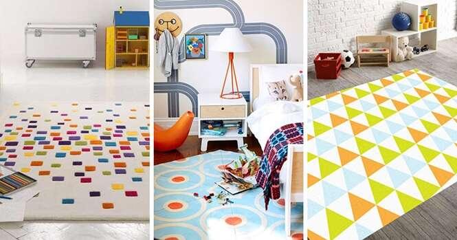 Tapetes coloridos que vão deixar o quarto das crianças mais divertido