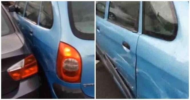 Mulher encontra seu carro todo amassado