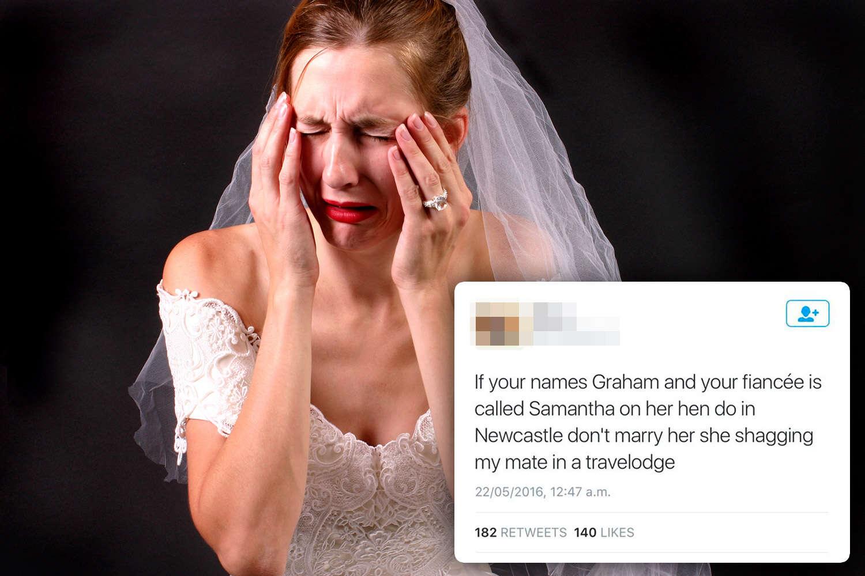 Internauta tenta acabar com casamento de estranho ao revelar que noiva dormiu com seu companheiro