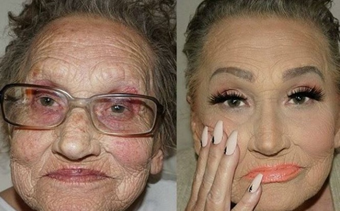 Idosa se torna sensação na internet após rejuvenescer ao ser maquiada pela neta