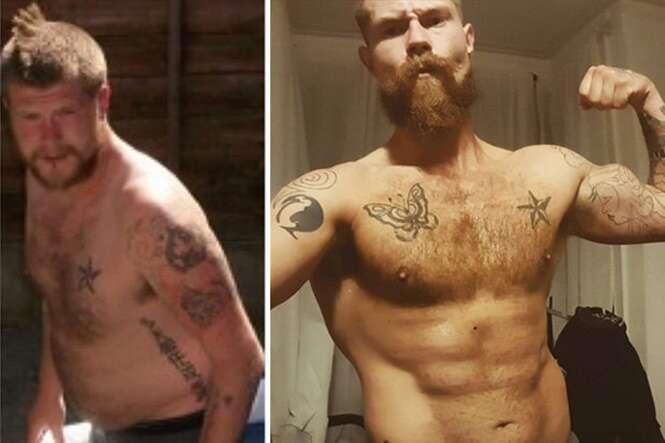 Homem de 115 quilos muda completamente a aparência de seu corpo