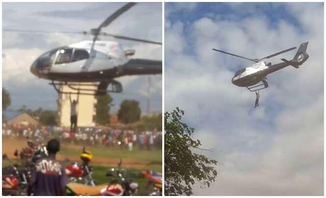 Homem é filmado pendurado em helicóptero