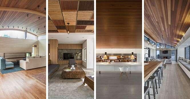 Belos exemplos de tetos de madeira para se inspirar na hora da reforma