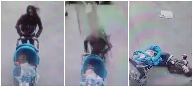 Mãe empurra carrinho de bebê e salva filho antes de ser atingida por pedaço enorme de concreto
