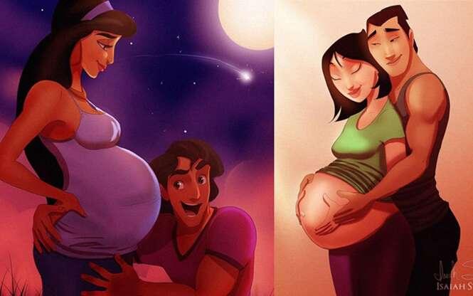 Ilustrações de princesas da Disney como mães