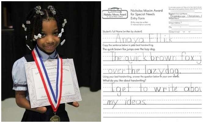Menina que nasceu sem as mãos vence concurso de caligrafia
