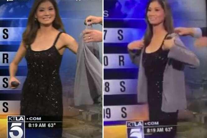 Garota do tempo é forçada a vestir casaco ao vivo