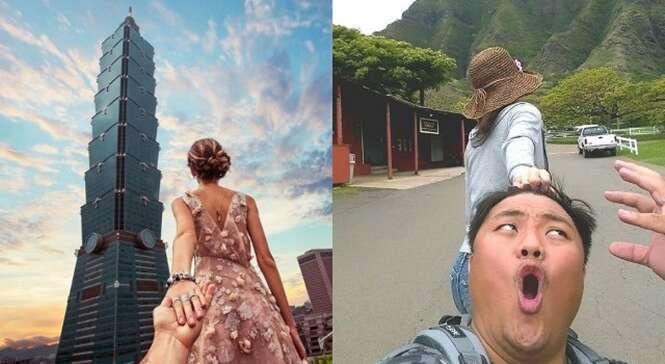 Casal recria fotos românticas de forma hilária