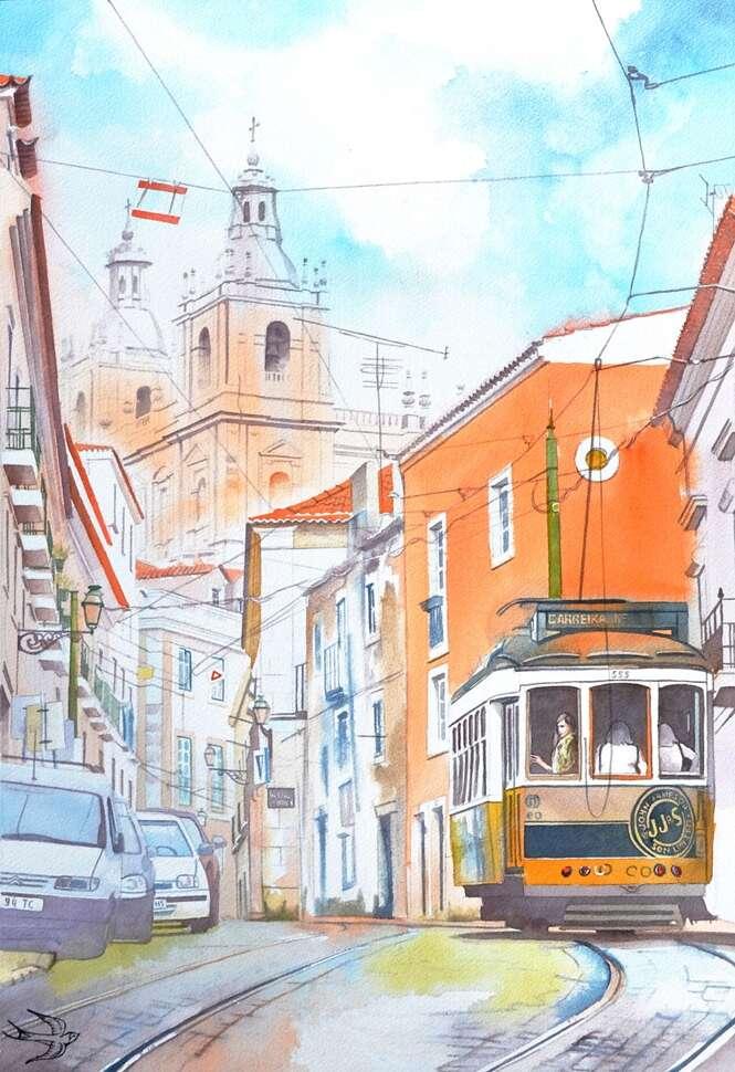Artista cria lindas imagens em aquarela das belezas encontradas em Portugal
