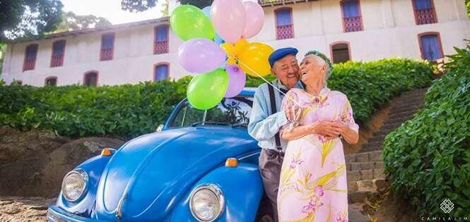 Casal de idosos faz ensaio fotográfico sensacional em celebração aos 69 anos de casados