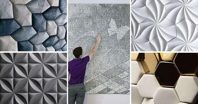 Exemplos criativos de paredes em 3D