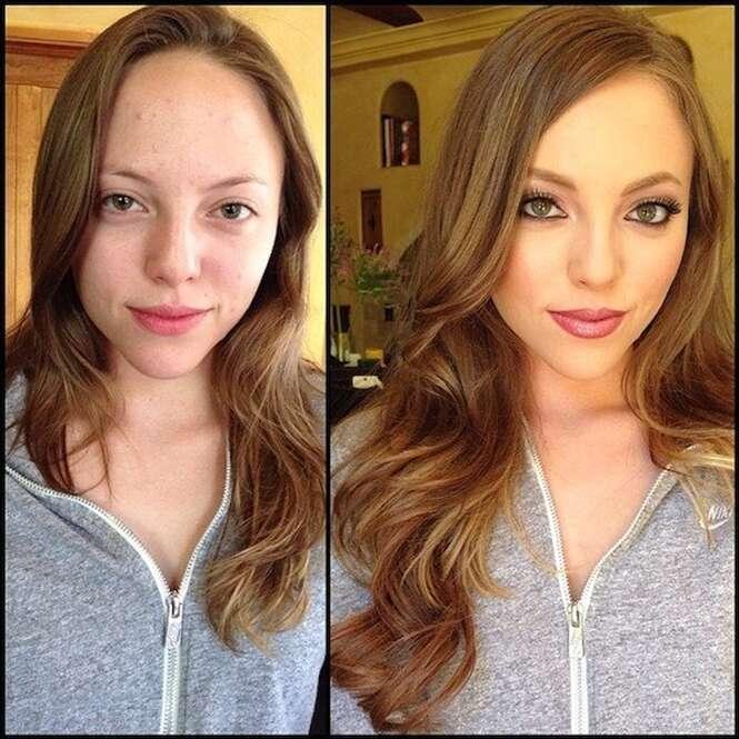 Atrizes de filmes com conteúdo para adultos antes e depois da maquiagem