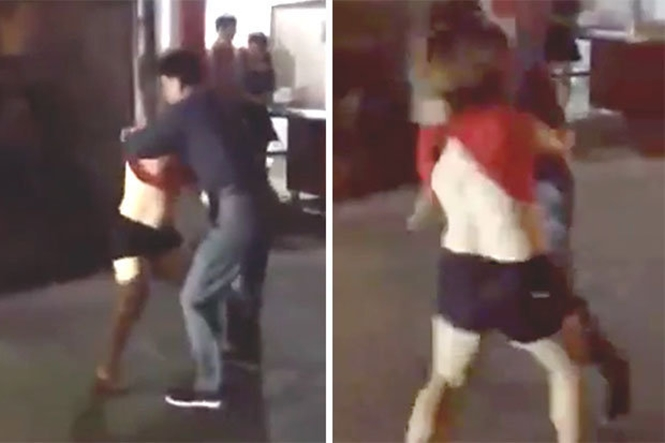 Esposa encontra marido fazendo compras junto da amante, parte para o ataque e se dá mal