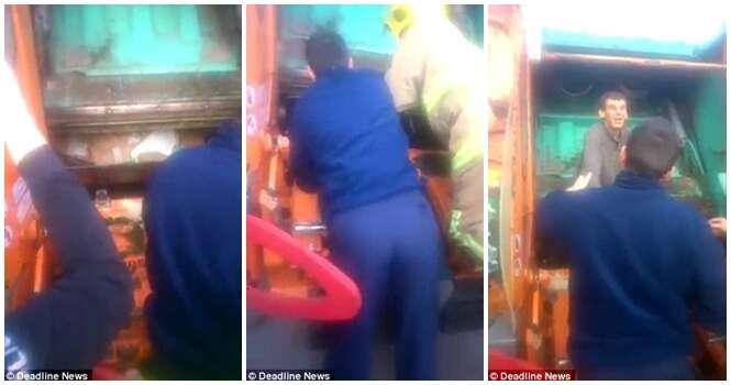 Homem vai parar no caminhão coletor após dormir em lata de lixo