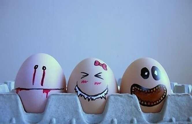 Os mais divertidos desenhos feitos em ovos