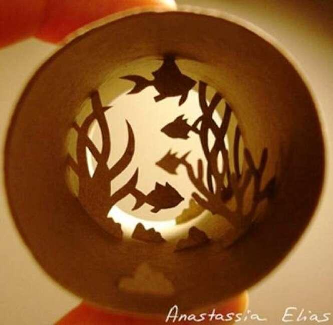 Trabalhos de arte incríveis feitos dentro do rolo de papel higiênico