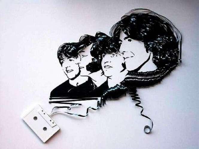 Obras de arte feitas com fitas cassete