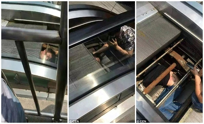 Técnico de manutenção é sugado para dentro de escada rolante