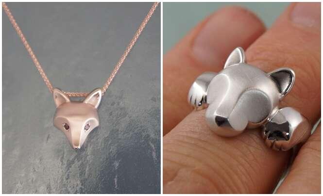 Joias de animais feitas de prata e bronze