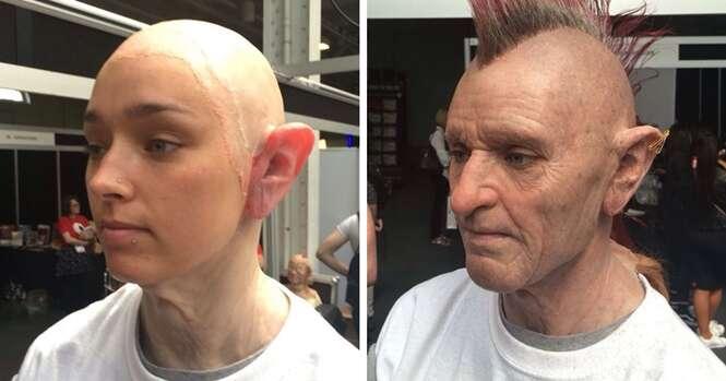 Maquiador transforma jovem mulher em idoso e resultado fica impressionante