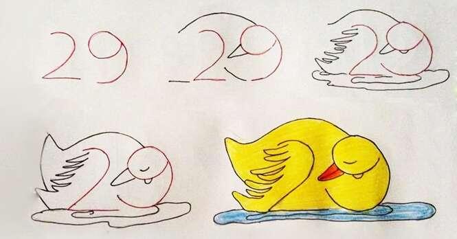 Imagens mostram como é possível ensinar seus filhos a desenhar com a ajuda dos números