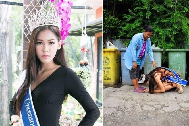 Miss Tailândia volta para agradecer esforços de sua mãe, uma catadora de lixo