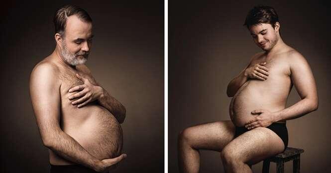 Anúncio alemão de cerveja mostra homens embalando suas barrigas salientes como se estivessem grávidos