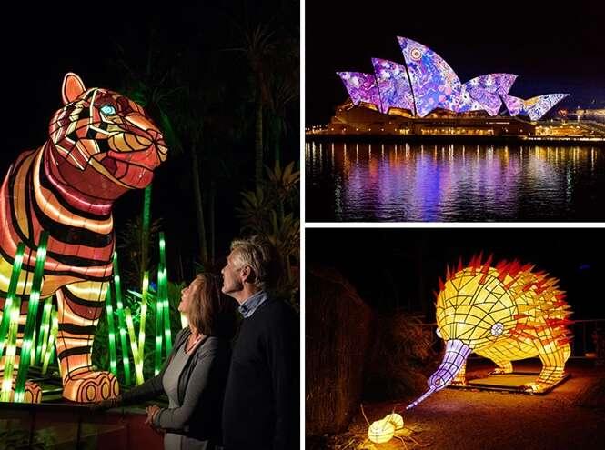 Lindas imagens do festival de luz de Sydney