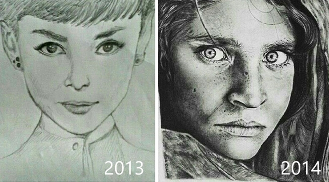 Antes e depois de desenhos demonstrando como a persistência leva ao progresso
