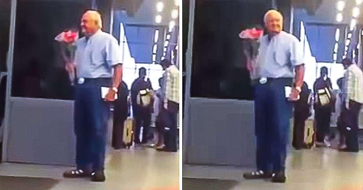 Cena de idoso com buquê de flores em aeroporto vai fazer você acreditar no amor