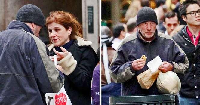 Mulher dá pizza a mendigo e tem enorme surpresa