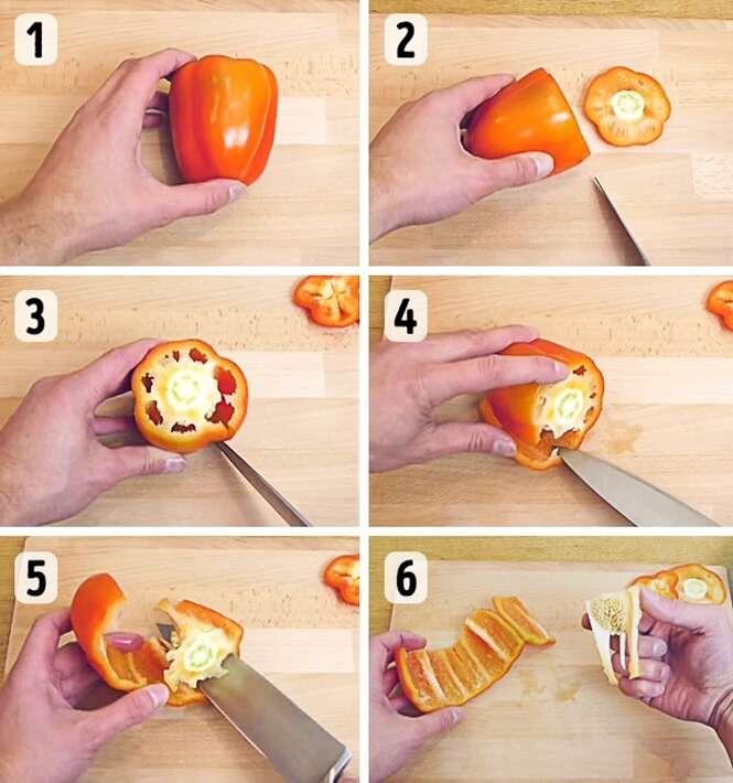 Formas incomuns para cortar e descascar alimentos