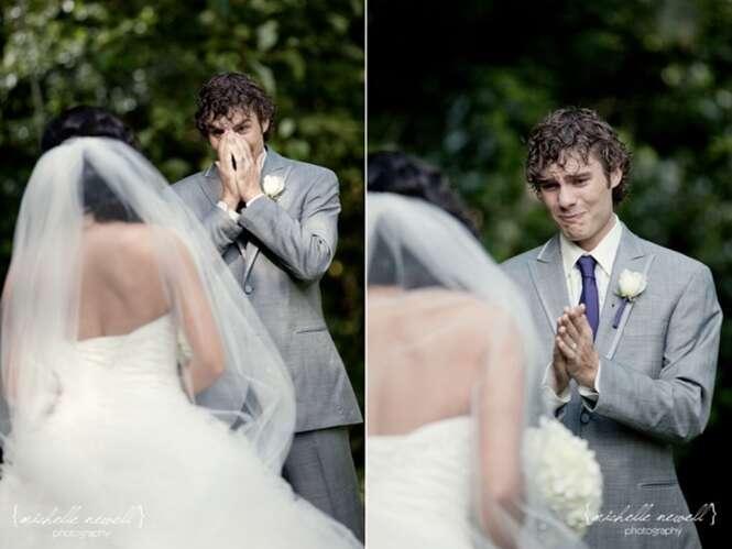 Imagens comoventes mostram reação de homens ao verem suas futuras esposas vestidas de noiva