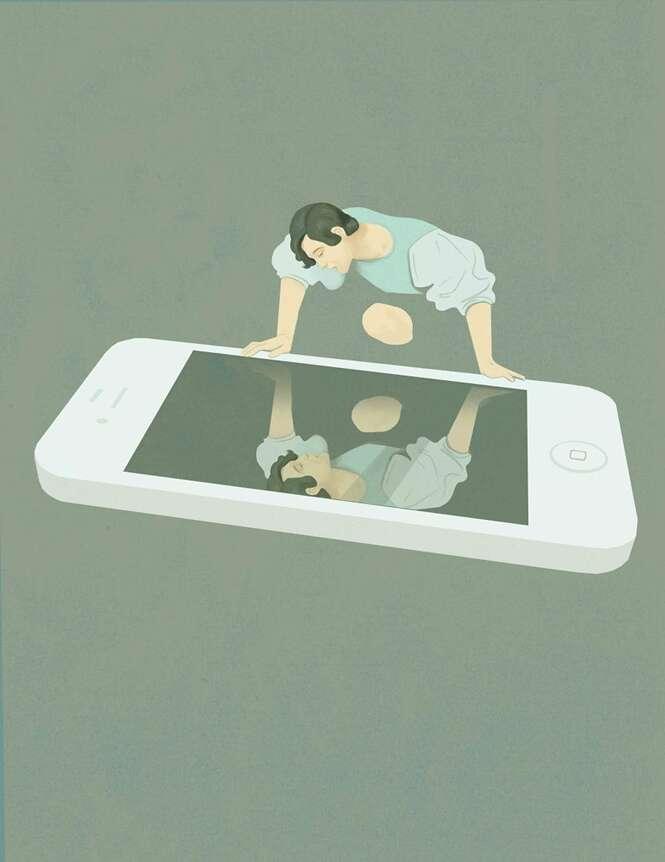 Ilustrações tristes sobre a vida moderna