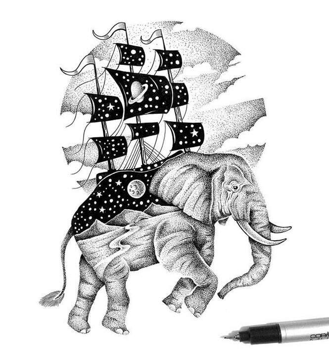 Artista cria desenhos incríveis feitos com milhares de pontos