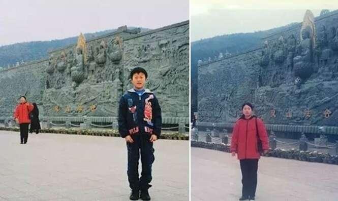Homem tira foto em local turístico, mulher misteriosa aparece ao fundo e 16 anos depois ele descobre que ela é sua atual sogra