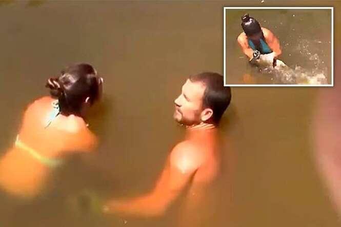 Vídeo mostra mulher usando braço como isca para pescar bagre de 1,20 metros