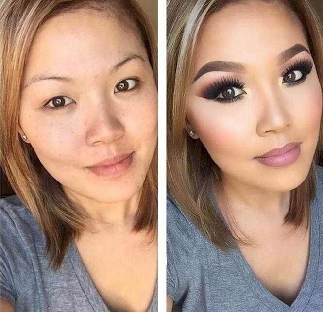 Antes e depois demonstrando o poder da maquiagem
