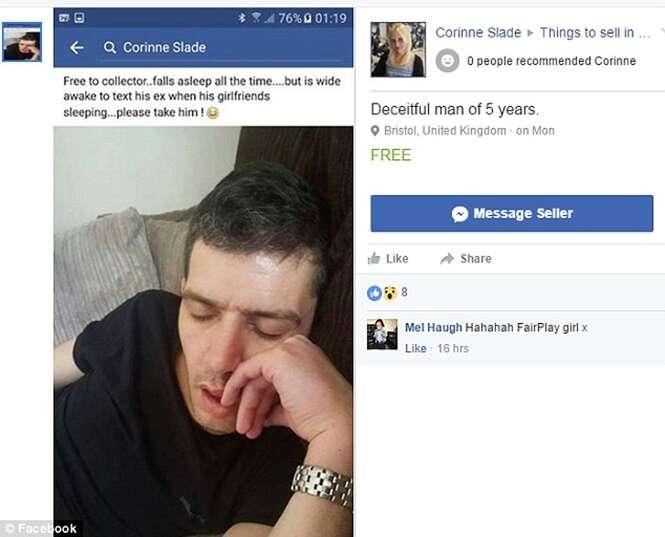 """Mulher termina com namorado infiel e posta """"venda"""" do rapaz no Facebook"""