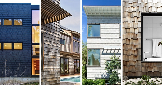 Casas com fachadas modernas feitas de telhas de madeira