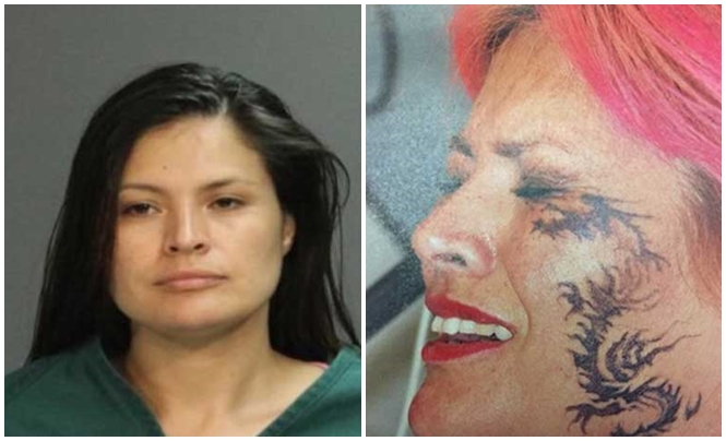 Mulher tinge cabelo de rosa brilhante, faz tatuagem no rosto e para não ser presa
