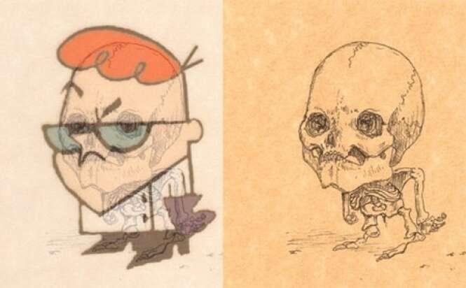 Artista imagina estruturas ósseas de desenhos animados