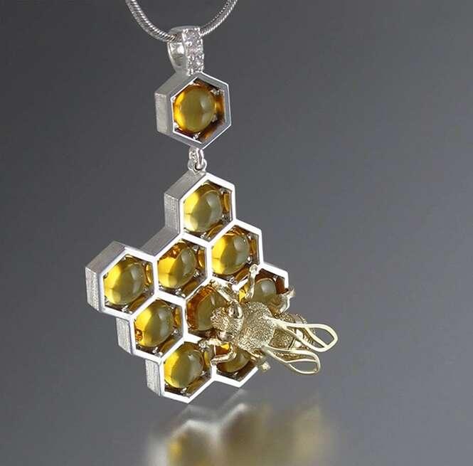 Que tal estas joias inspiradas em favos de mel?