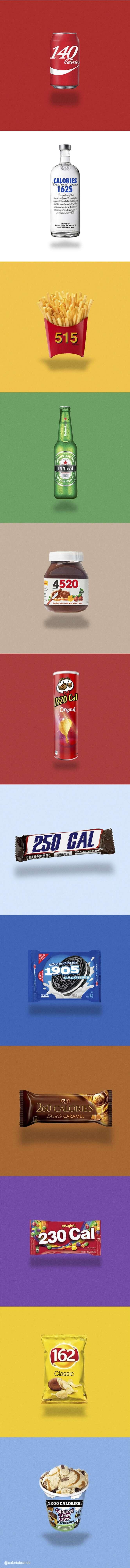 Logomarcas de empresas são redesenhadas para mostrar quantas calorias existem no próprio produto