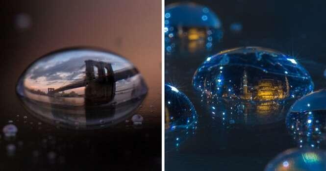Fotógrafo passa 15 anos tirando fotos de cidades em gotas de água