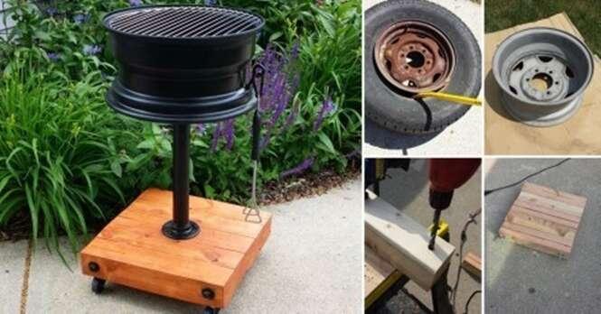 Como transformar uma velha roda de carro em uma bela churrasqueira