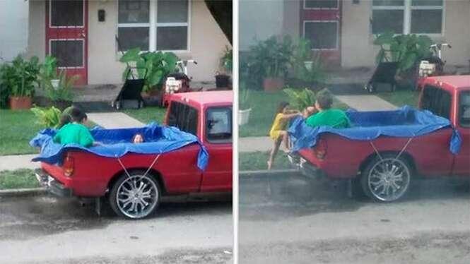 Homem levanta mais de 30 mil reais em prol de crianças após serem zombadas por usarem piscina improvisada