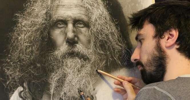 Artista passa 100 horas fazendo desenhos hiper-realistas usando técnicas renascentistas