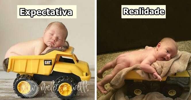 Tentativas de fotos com bebês que falharam feio