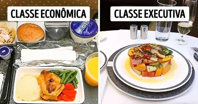 Como é a comida oferecida a bordo de 15 diferentes companhias aéreas